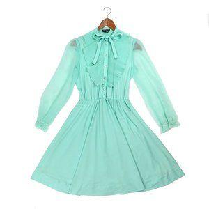 Vintage Jen-Jen New York pastel mint mini dress
